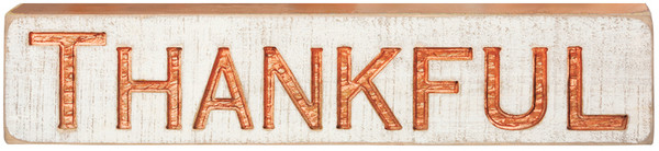35872 Carved Sign - Thankful - Set Of 2 By Primitives by Kathy