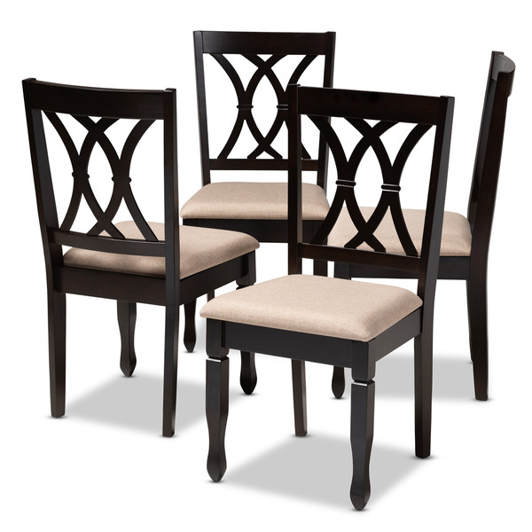 Baxton Reneau Modern And Contemporary Sand Fabric Upholstered Espresso Brown Finished Wood Dining Chair Set Of 4 RH316C-Sand/Dark Brown-DC