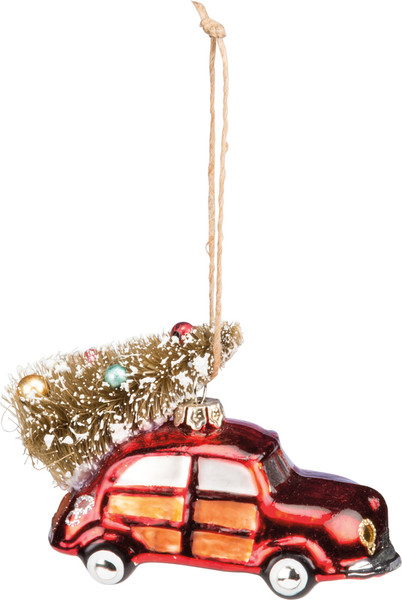 36126 Glass Xmas Ornament - Red Car - Set Of 6 By Primitives by Kathy