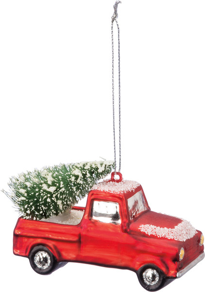36129 Glass Xmas Ornament - Snow Truck - Set Of 6 By Primitives by Kathy