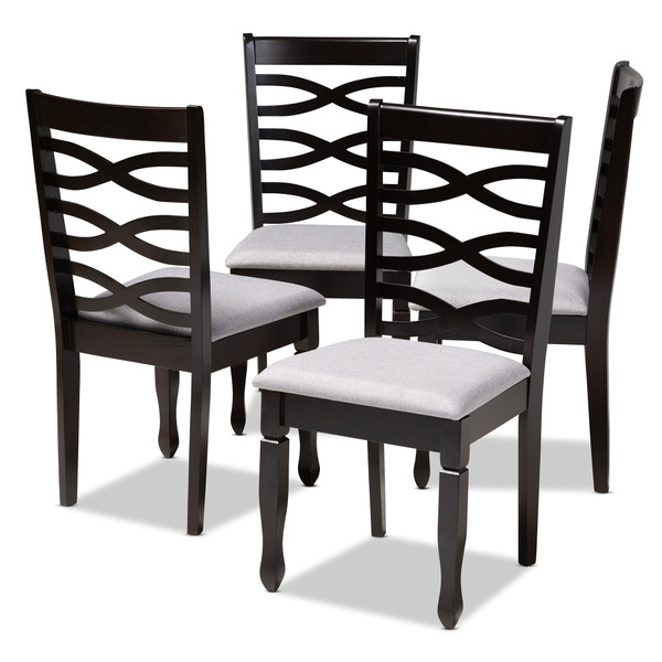 Baxton Lanier Modern And Contemporary Gray Fabric Upholstered Espresso Brown Finished Wood Dining Chair Set Of 4 RH318C-Grey/Dark Brown-DC