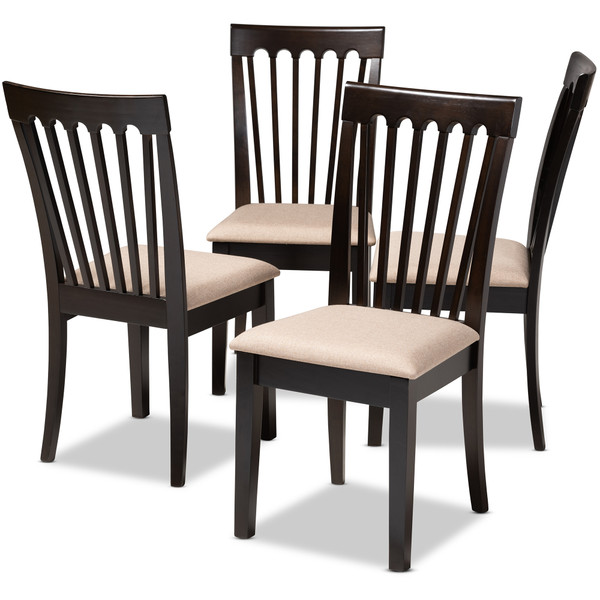 Baxton Minette Modern And Contemporary Sand Fabric Upholstered Espresso Brown Finished Wood Dining Chair Set Of 4 RH319C-Sand/Dark Brown-DC-4PK