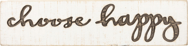36793 Carved Sign - Choose Happy - Set Of 2 By Primitives by Kathy