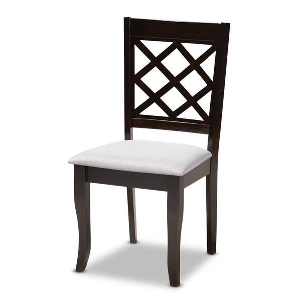 Baxton Verner Modern And Contemporary Grey Fabric Upholstered Espresso Brown Finished Wood Dining Chair Set Of 4 RH330C-Grey/Dark Brown-DC