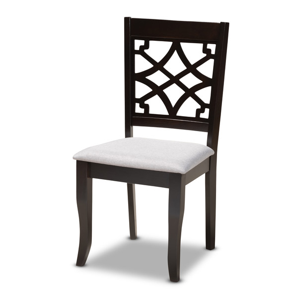 Baxton Mael Modern And Contemporary Grey Fabric Upholstered Espresso Brown Finished Wood Dining Chair Set Of 4 RH331C-Grey/Dark Brown-DC