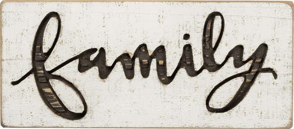 Carved Sign - Family - Set Of 2 (Pack Of 2) 38196 By Primitives By Kathy
