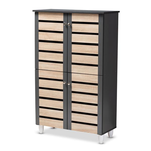 Baxton Gisela Modern And Contemporary Two-Tone Oak And Dark Gray 4-Door Shoe Storage Cabinet SC865514M-Sonama Oak/Dark Grey-Shoe Cabinet