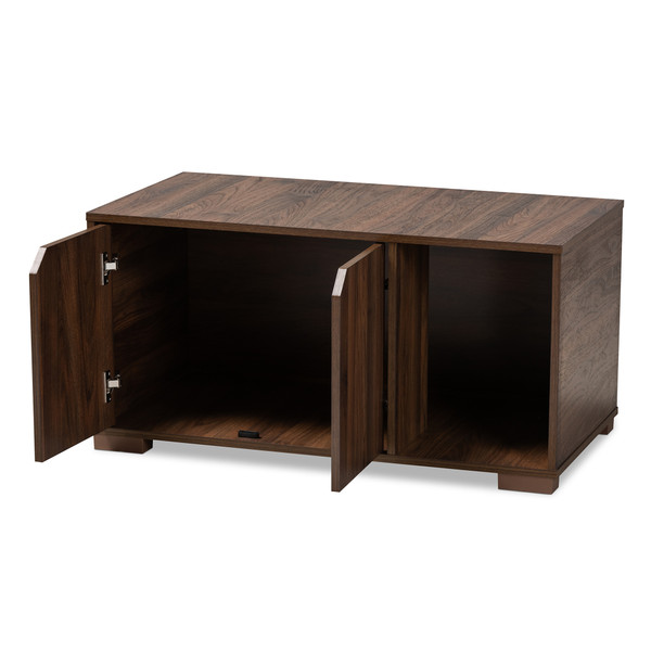 Baxton Jasper Modern And Contemporary Walnut Brown Finished 2-Door Wood Cat Litter Box Cover House SECHC150040WI-Columbia-Cat House
