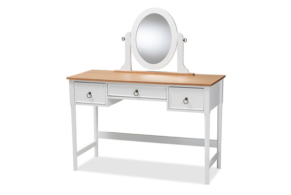 Baxton Sylvie Classic And Traditional White 3-Drawer Wood Vanity Table With Mirror SR1703010-White/Natural