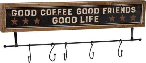 38790 Hook Board - Good Coffee Good - Set Of 2 By Primitives by Kathy