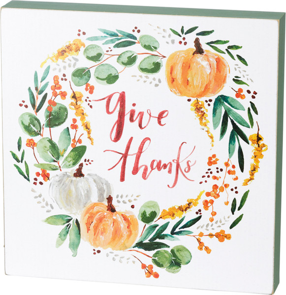 38813 Box Sign - Give Thanks Wreath - Set Of 2 By Primitives by Kathy