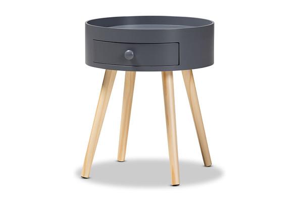 Baxton Jessen Mid-Century Modern Gray 1-Drawer Wood Nightstand SR1703019-Dark Grey-NS