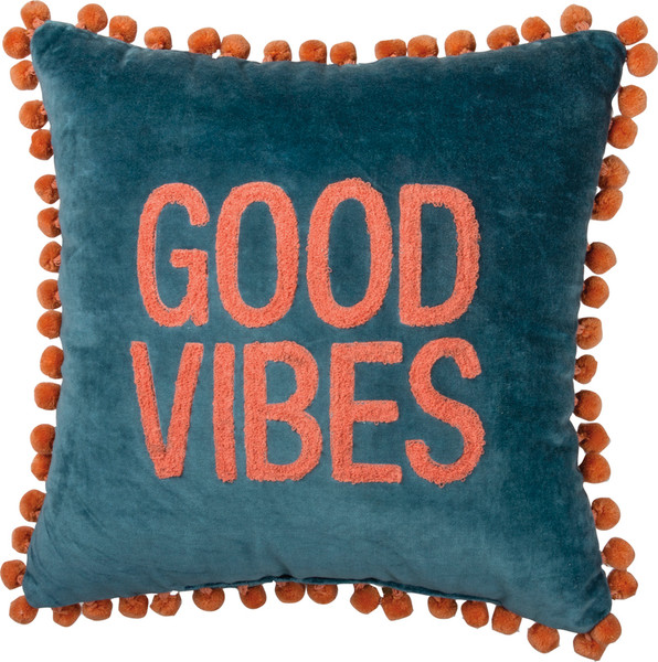 39115 Pillow - Good Vibes - Set Of 2 By Primitives by Kathy