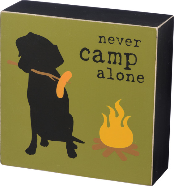 Box Sign - Never Camp Alone - Set Of 2 (Pack Of 3) 39142 By Primitives By Kathy