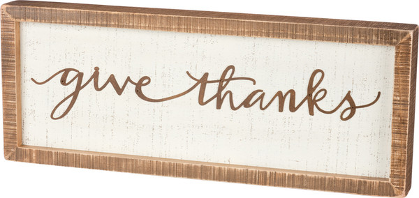 39251 Inset Box Sign - Give Thanks - Set Of 2 By Primitives by Kathy