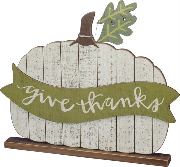 39286 Slat Sitter - Give Thanks - Set Of 2 By Primitives by Kathy