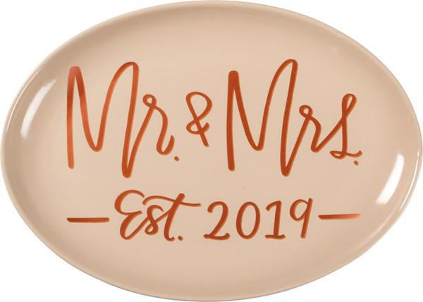 39517 Platter - Mr. & Mrs. Est. 2019 - Set Of 2 By Primitives by Kathy