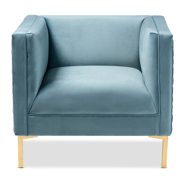 Baxton Seraphin Glam And Luxe Light Blue Velvet Fabric Upholstered Gold Finished Armchair TSF-6625-Light Blue/Gold-CC