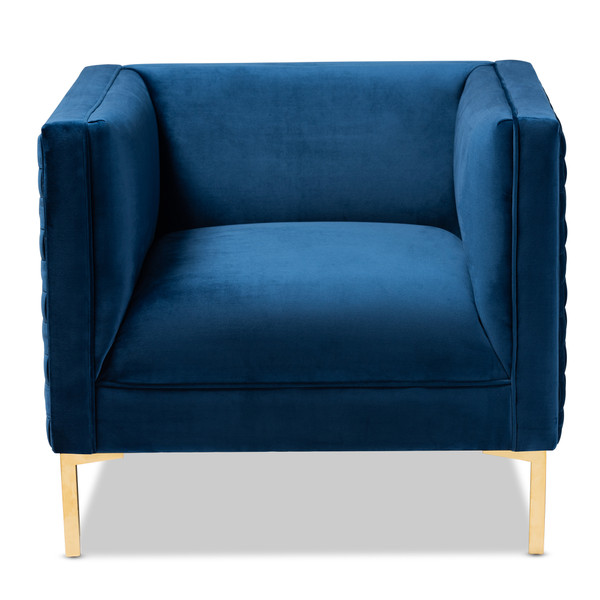 Baxton Seraphin Glam And Luxe Navy Blue Velvet Fabric Upholstered Gold Finished Armchair TSF-6625-Navy/Gold-CC