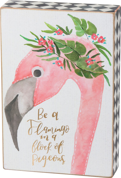 Box Sign - Be A Flamingo - Set Of 2 (Pack Of 2) 39737 By Primitives By Kathy
