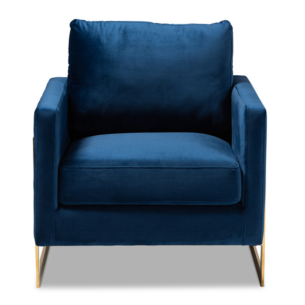 Baxton Matteo Glam And Luxe Royal Blue Velvet Fabric Upholstered Gold Finished Armchair TSF-77241-Navy/Gold-CC