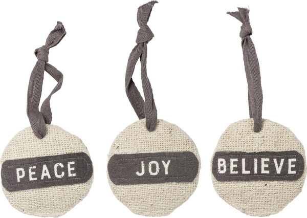 39908 Xmas Ornament Set - Joy Peace - Set Of 6 By Primitives by Kathy