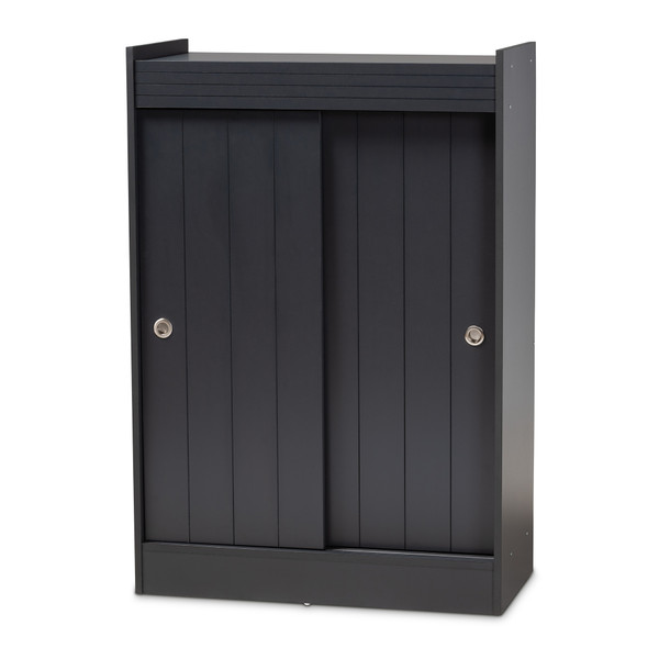 Baxton Leone Modern And Contemporary Charcoal Finished 2-Door Wood Entryway Shoe Storage Cabinet WI5377-Dark Grey
