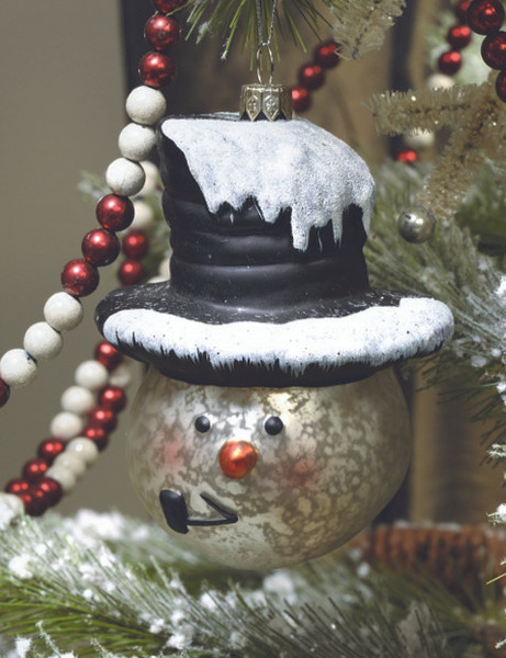 9320 Ragon Large Mercury Glass Snowman With Hat Ornament (Pack Of 6)