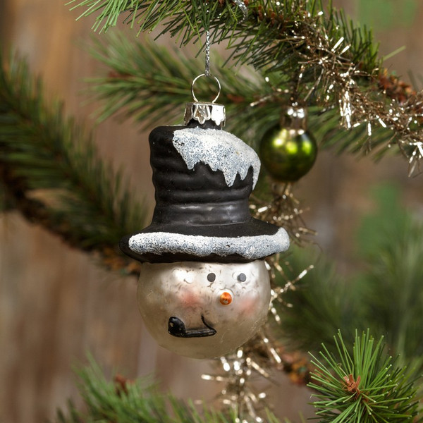 9320S Ragon Small Mercury Glass Snowman With Hat Ornament (Pack Of 12)