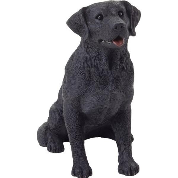 Sandicast Mid Size Black Sitting Labrador Retriever Sculpture - MS13011