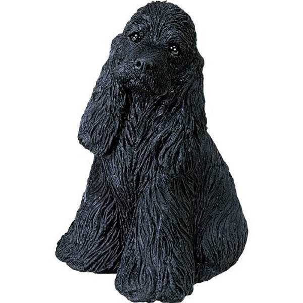 Sandicast Mid Size Black Sitting Cocker Spaniel Sculpture - MS202