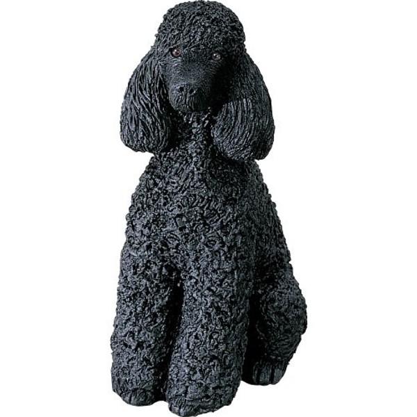 Sandicast Mid Size Black Sitting Poodle Sculpture - MS410