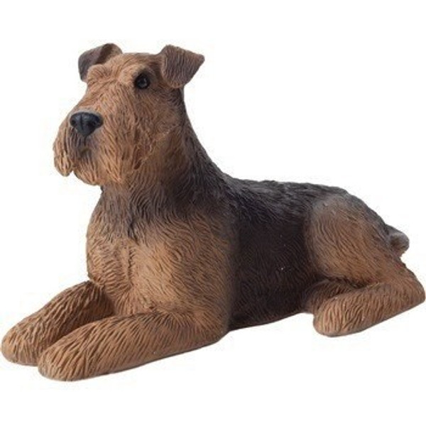 Sandicast Small Size Lying Airedale Terrier Sculpture - SS18601