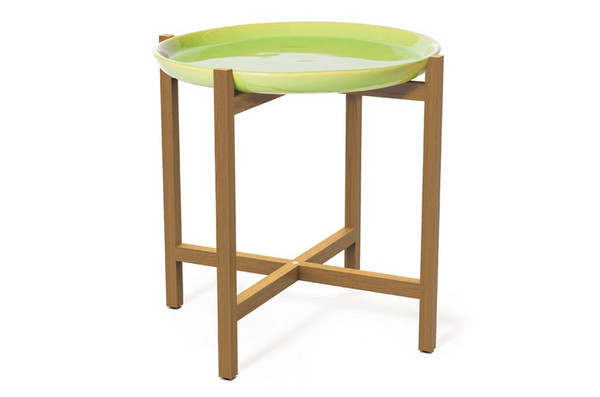 308FT345P2AG Ibis Teak Apple Green Plate Accent Table