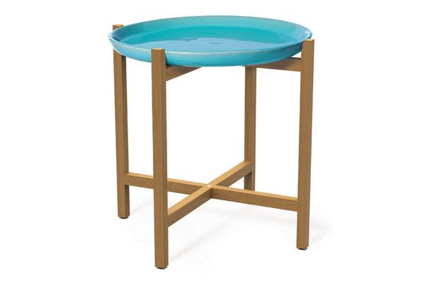 308FT345P2AM Ibis Teak Aquamarine Plate Accent Table