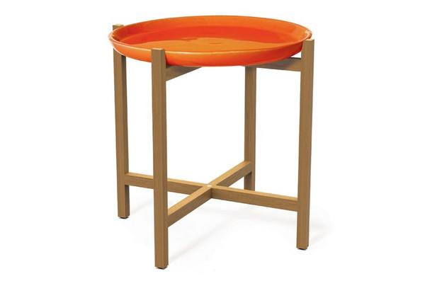308FT345P2O Ibis Teak Orange Plate Accent Table