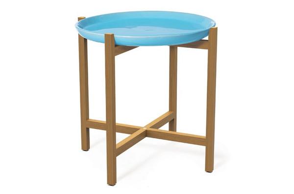 308FT345P2TB Ibis Teak Turquoise - Blue Plateaccent Table