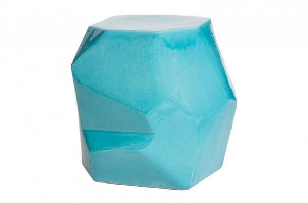 308FT346P2TB Turquoise Blue Geo Stool