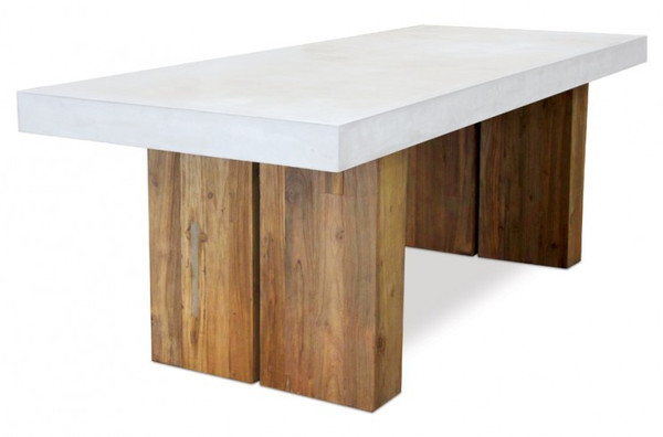 """501FT040P2W Perpetual 87"""" Teak Olympus Dining Table With Reclaimed Base"""