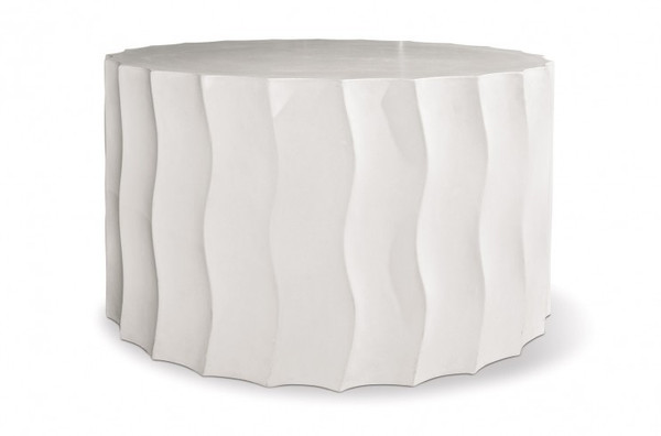 501FT052P2WM Perpetual Wave Wide Ivory White Accent Table