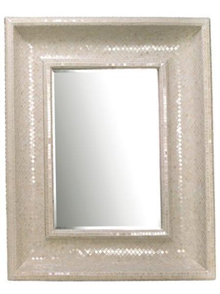 "46.5""W X 58""L Glass MosaicMirrorWhite AA0607-WH"