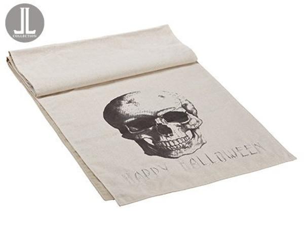 "14""W X 72""L Happy HalloweenSkull Table RunnerBlack Beige 6 Pieces AAF235-BK/BE"