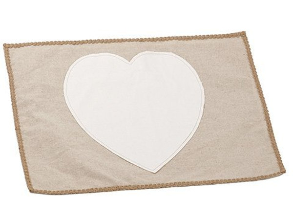 "14""W X 19""L Heart Placemat Cream Beige 6 Pieces AAN762-CR/BE"