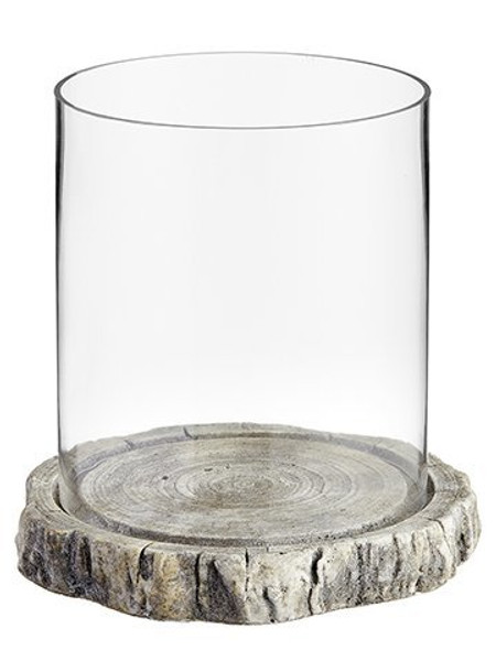 """10""""H X 10""""D Glass HurricaneWith Cement PlateClear Stone ACG793-CW/ST"""