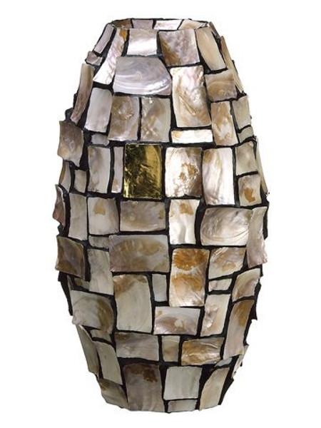 "10""Dx21.5""H Mother OfPearl/Gold Leaf VasePearl ACI627-PEA"