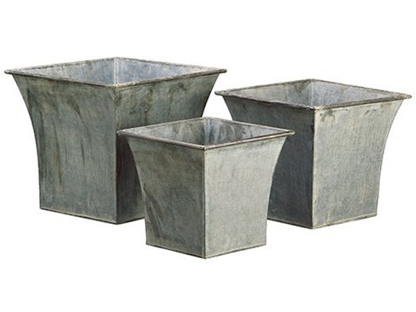 "10""H-13""H X 10.5""W-14.25""Wx 10.5""L-14.25""L Tin Planter W/Liner (3 Ea./Set) Gray 2 Pieces ACT049-GY"