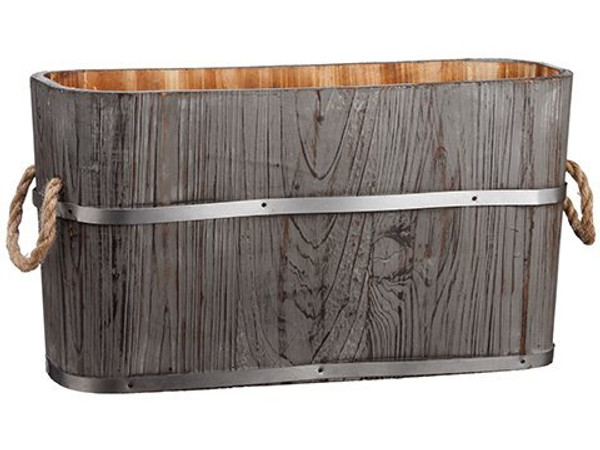 "10""H X 7""W X 19""L Wood Planter Gray 2 Pieces ACW661-GY"
