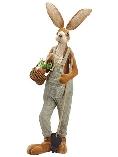 """25"""" Bunny With Basket AndShovelBeige Gray 2 Pieces AEZ016-BE/GY"""