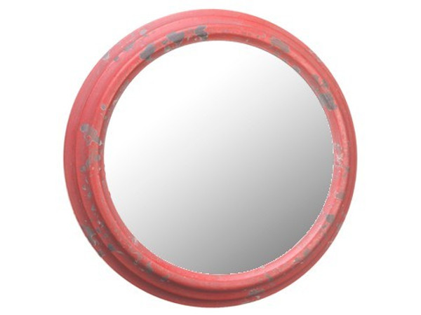 "10.6"" Metal Mirror Antique Red 6 Pieces AF0123-RE/AT"