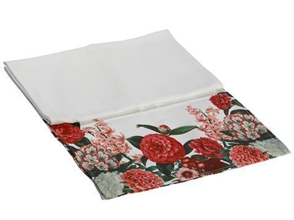 """14""""W X 72""""L Outdoor Camellia/Peony Table RunnerWhite Red 6 Pieces AG3652-WH/RE"""